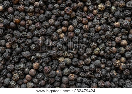 Close Up Black Pepper Round Grains Background
