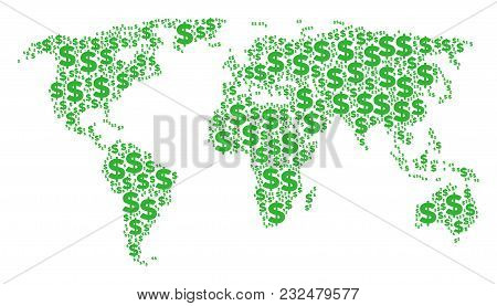 Geographic Map Pattern Designed Of Dollar Design Elements. Vector Dollar Icons Are Composed Into Geo