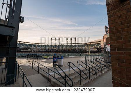 Detroit, Michigan Usa - 5 Jul 2017 Comerica Park Is The Home Of Detroit Tigers Baseball Team.