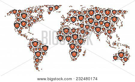 Continent Map Collage Created Of Electric Guard Icons. Vector Electric Guard Items Are Composed Into
