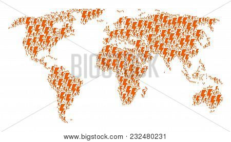 Global Map Collage Organized Of Electric Strike Elements. Vector Electric Strike Icons Are Organized