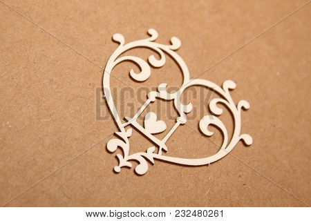 Beautiful Decorative Heart And Patterns. Background For Holiday