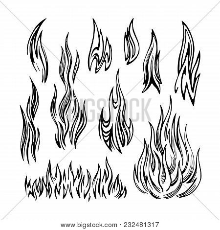 Flame Of Fire Stylized Monochrome Vector Sketch. Set Of Elements Of Different Shapes On A White Back