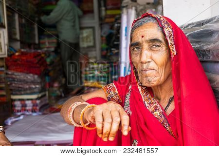 Mandawa, India - February 24, 2018: Portrait Of A Senior Indian Woman With Traditional Dress Saree S