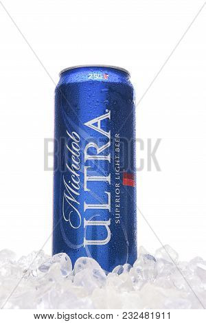 Irvine, California - March 21, 2018: A 25 Ounce Can Of Michelob Ultra Beer In Ice. A A Low Carb And