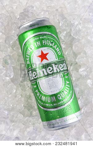 Irvine, California - March 21, 2018: Heineken Beer King Can On Ice. Heineken Is Known For Its Signat