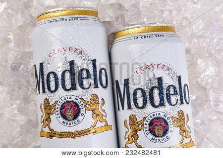 Irvine, California - March 21, 2018: Two Cans Of  Modelo Especial On Ice Closeup. First Bottled In 1