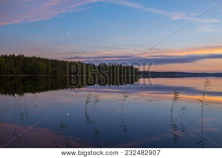 Colorful Summer Night Lake Landscape After Sunset