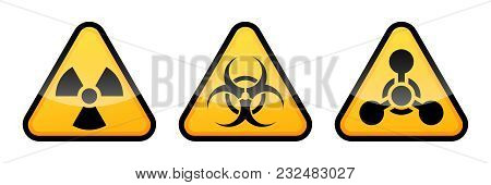 Warning Vector Signs Set. Radiation Sign, Biohazard Sign, Chemical Weapons Sign. Danger Signs
