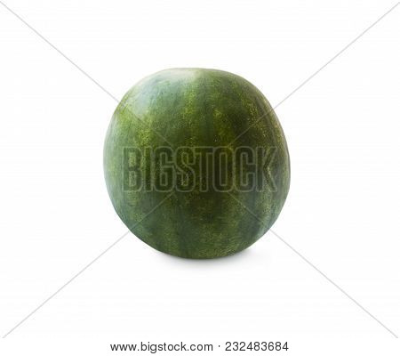 Watermelon Isolated On White Background. Sweet And Juicy Fruit With Copy Space For Text. Ripe Waterm