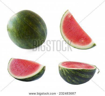 Set Of Watermelon On A White Background. Watermelon And Slice Isolated On White. Sweet And Juicy Fru