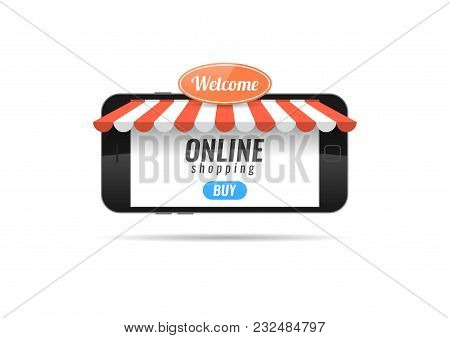 A Smartphone In The Form Of A Store. Online Shopping. Banner For The Online Store Application. Vecto