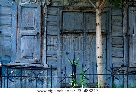 Authentic Wooden Windows And Doors Antique House, Natural Light, Close-up