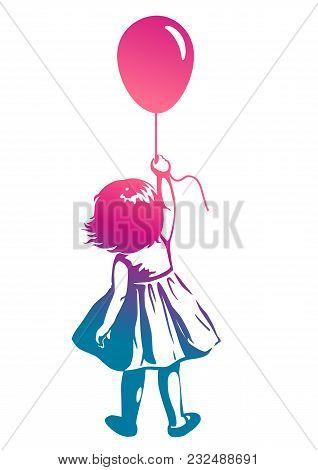 Vector Hand Drawn Multicolor Rainbow Silhouette Illustration Of A Toddler Girl Standing With Pink Re
