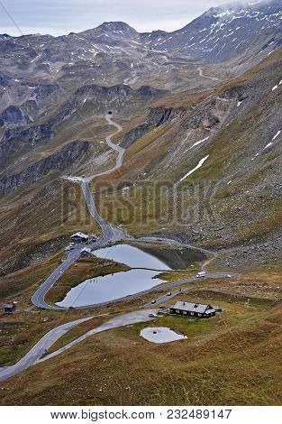 Lakes and tunnels at Grossglockner Hochalpenstrasse in Hohe Tauern. poster