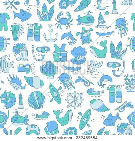 Diving Hand Draw Cartoon Seamless Pattern. Diving And Water Sport And Adventure Repeatable Backgroun