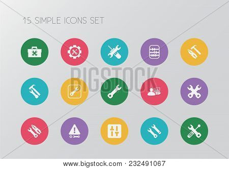 Set Of 15 Editable Mechanic Icons. Includes Symbols Such As Utility, Build, Tools And More. Can Be U