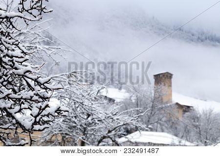 Mestia Svaneti Svan Medieval Tower Georgia. Sunny Frosty Snowy Winter Landscape Panoramic View.