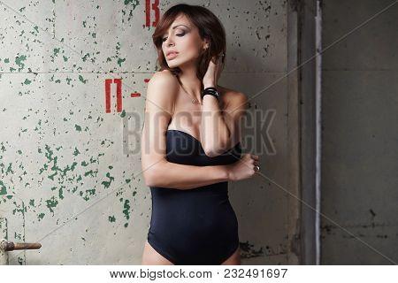 Awesom Sexual Brunette Woman In A Black Underwear.