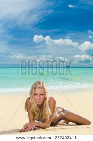 woman resting at the tropical beach resort