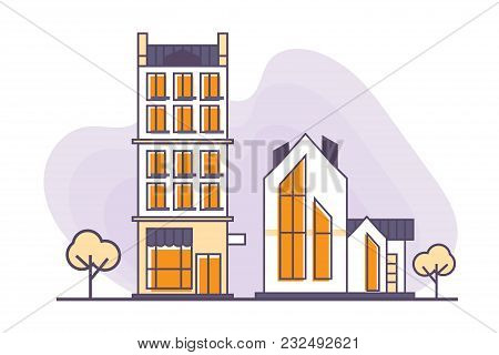 Vector Illustration For Real Estate Business: Urban And Suburban Buildings Or Houses Made In A Flat