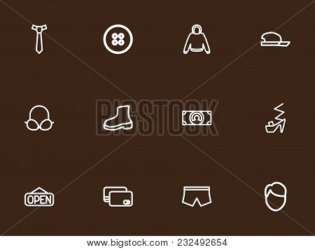 Set Of 12 Editable Trade Icons Line Style. Includes Symbols Such As Male Aspect, Brassiere, Cash And