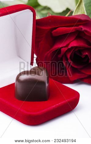 Heart-shaped Chocolate In A Red Velvet And Red Rose Box