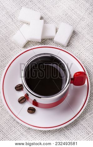 Black Coffee Cup With White Sugar Lumps View From Above