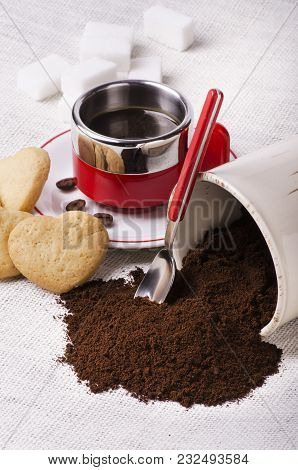 Homemade Breakfast With Black Coffee Cup With Sugar Lumps Mixture Of Coffee And Cookies