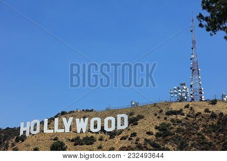 Los Angeles, United States - July 11, 2017: The Famous Hollywood Sign On Mount Lee In Los Angeles, S