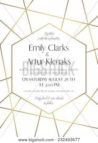 Wedding Invite, Save The Date Card Delicate Design With Golden Foil Graphic Stripes & Hexagonal Geom