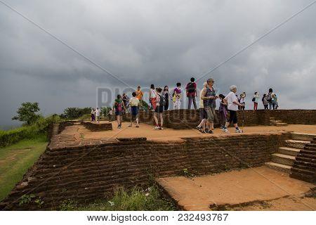 Matale, Sri Lanka- January 28, 2014: Unidentified Tourists At Sigiriya Rock Fortress At Matale, Sri