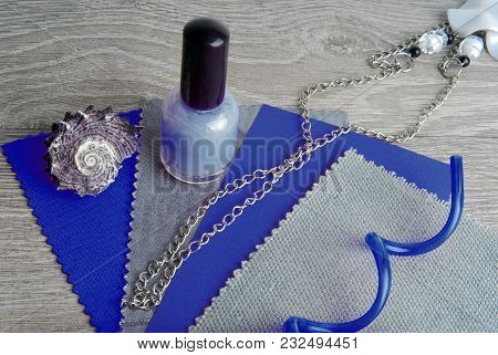 Fabric Swatches Designing Combine In Blue And Grey Color