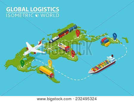 Global Logistic Isometric Vehicle Infographic. Ship Cargo Truck Van Logistics Service. Import Export