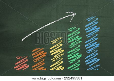 Colorful Business Chart On The Green Chalkboard