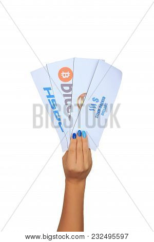 Modern Digital Cryptocurrencies Bitcoin, Dash, Steem-backed Dollars, Supercoin In Female Hands