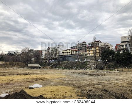 Tbilisi, Georgia - March 17, 2018: View On Dirty  Construction In Tbilisi, Georgia.