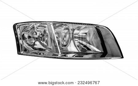 Car Headlight Isolated On A White Background.