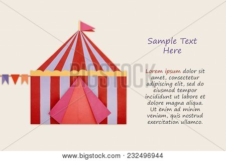 Circus Tent Origami Paper Isolated On A Cream Background