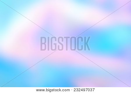 Abstract Blurred Holographic Foil Background In Light Colors. Wonderful Magic Background. Colorful W