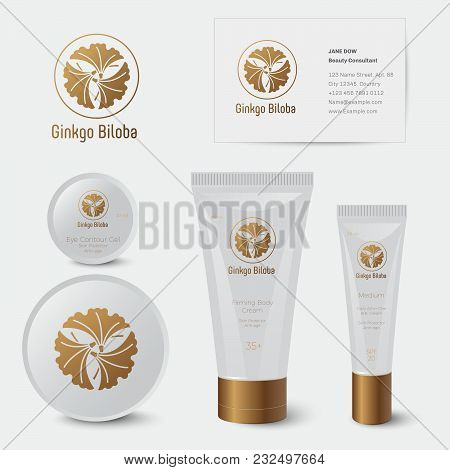 Ginkgo Biloba Cosmetics. Organic Cosmetics. Business Card, Tubes And Jars With Branding.