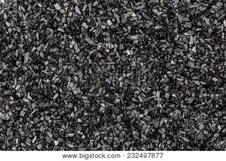 Background From Black Charcoal Closeup. Coal Texture, View From Above. Textures Background