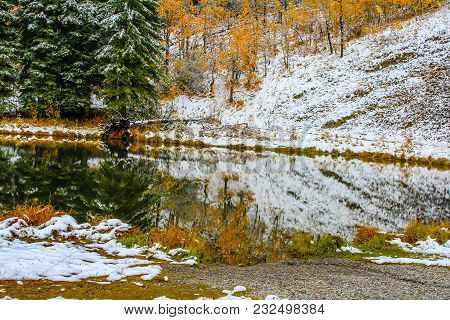 Fall Colours And Early Snow On The Lake, Sibbald Lake Provincial Recreation Area, Alberta, Canada