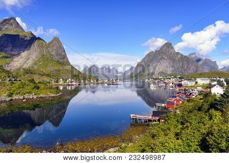 The Fishing Village Of Reine, Norway. It Is Located On The Island Of Moskenesoya In The Lofoten Arch