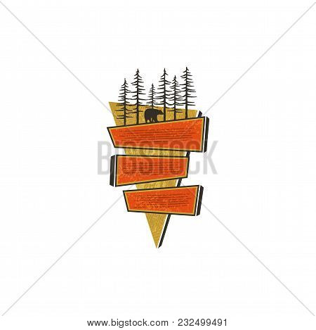 Vintage Hand Drawn Travel Badge Design. Blank Signs, Badges Design Concept In 70s Style. Paste Your