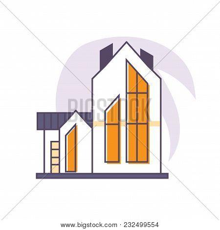 Vector Linear Flat Illustration: Suburban Neighborhood House Isolated. Great As City Or Town Neighbo