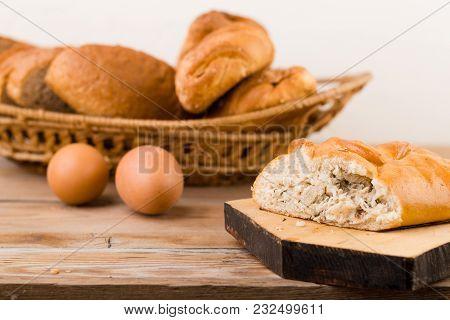 Rustic Pie Breakfast On A Wooden Table.