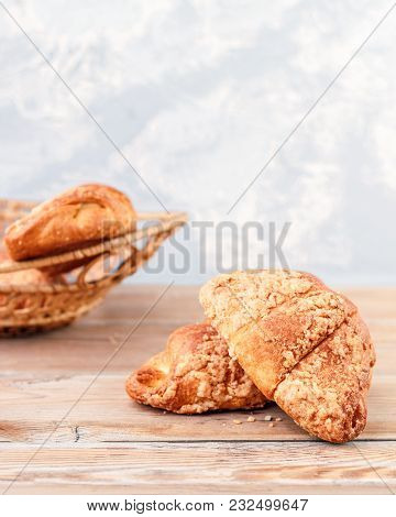 Fresh Croissants On Rustic Wooden Background. Selective Focus, Horizontal