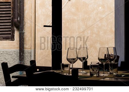 Table Set In A Typical Italian Restaurant