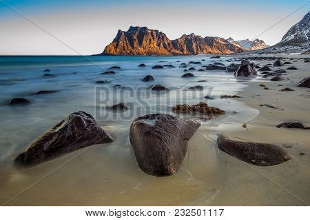 Utakleiv Beach, Lofoten, Norway, A Fantastic  Sandy And Rocky Beach